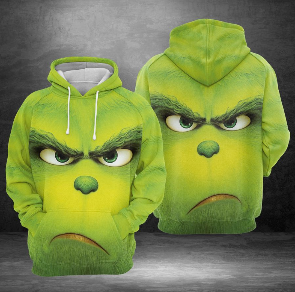 Grinch face all over printed 3D hoodie