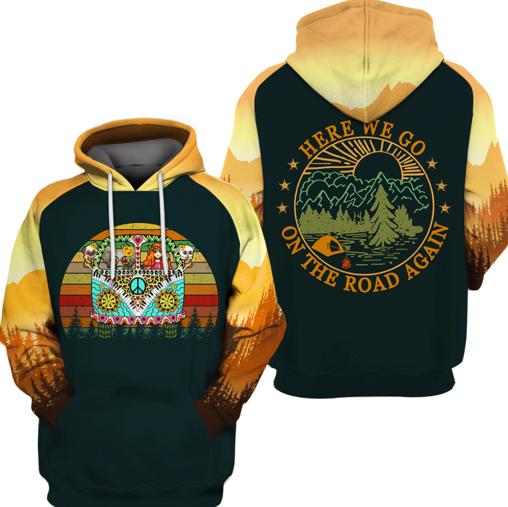 Hippie here we go on the road again all over printed 3D hoodie