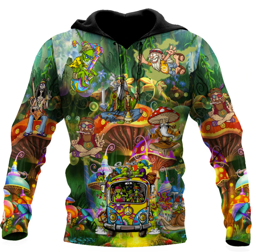 Hippie things all over printed 3D hoodie