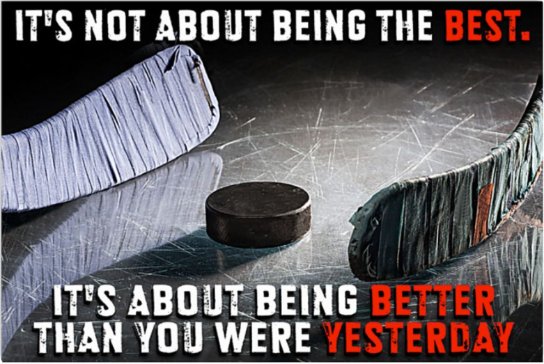 Hockey it's not about being the best it's about being better than you were yesterday poster