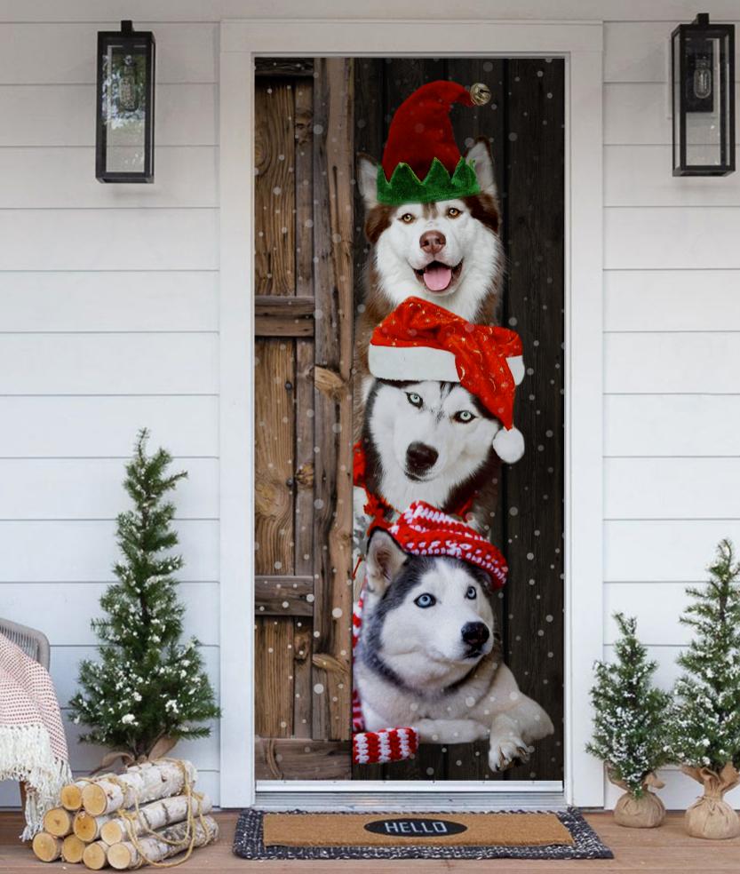 Husky Christmas door cover