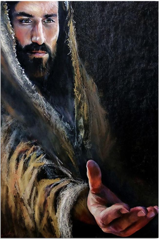 Jesus reaching hand poster