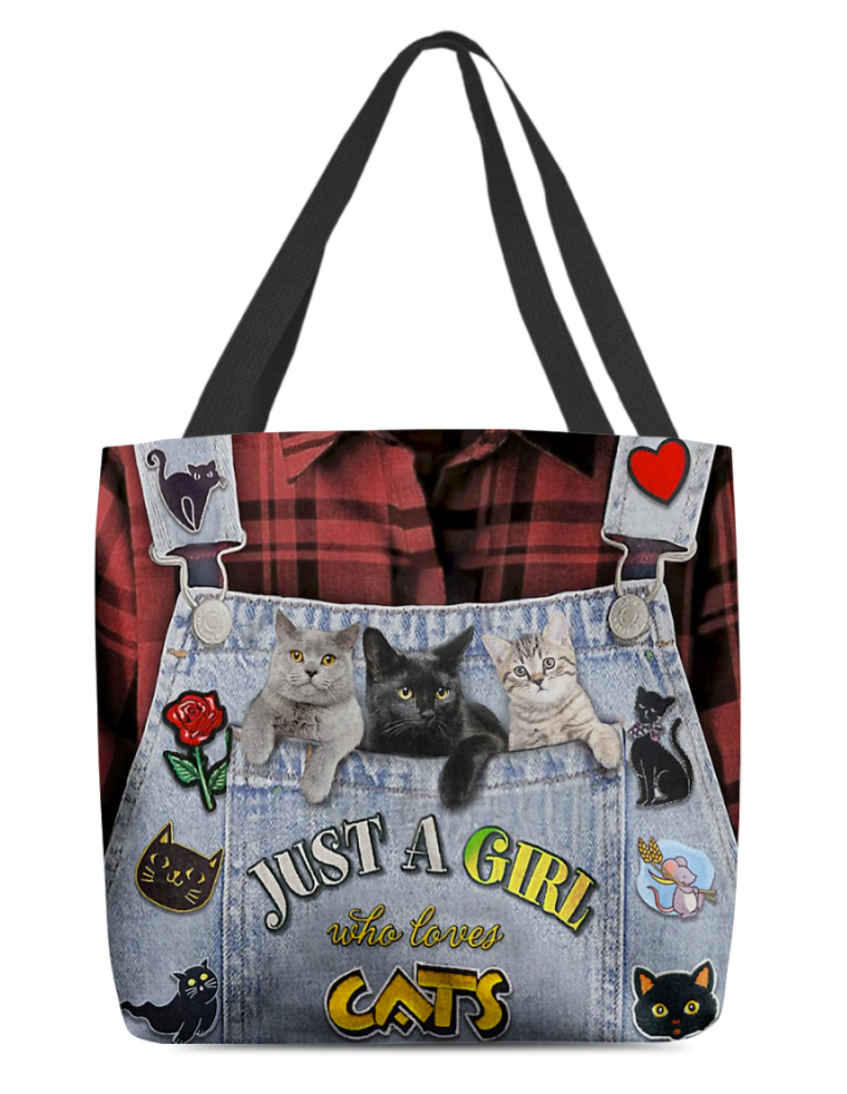 Just a girl who love cats all over tote bag