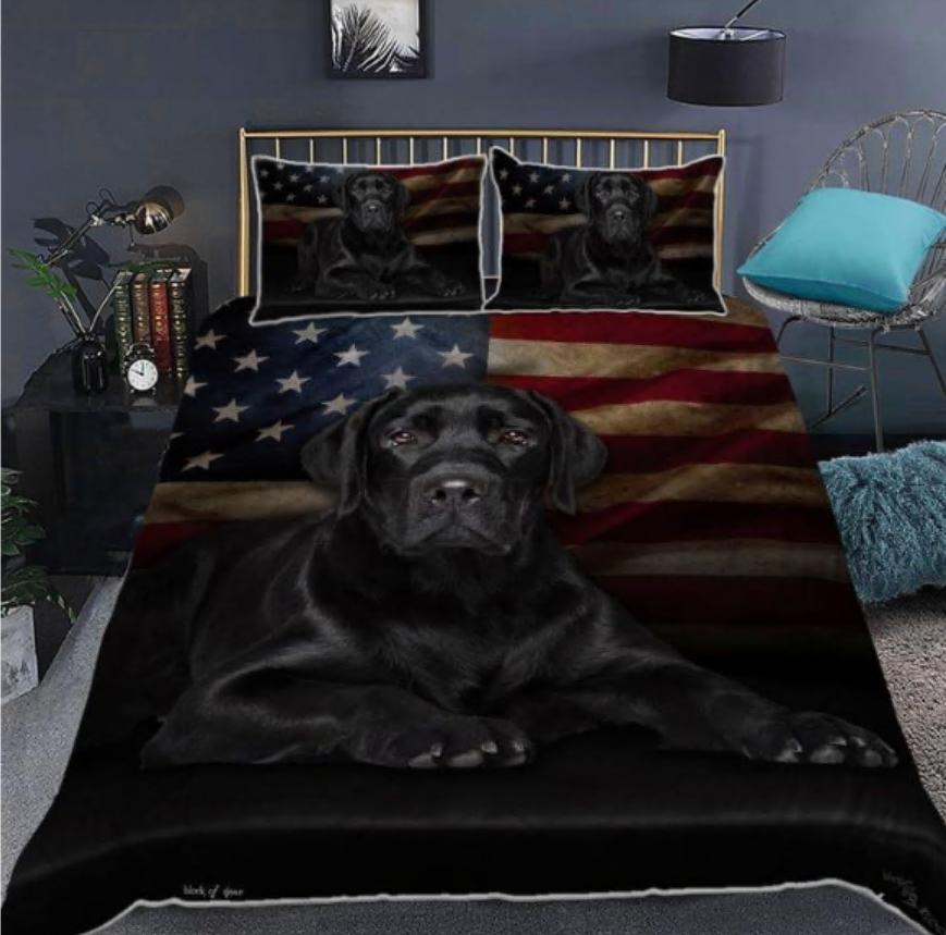 Labrador American flag bedding set