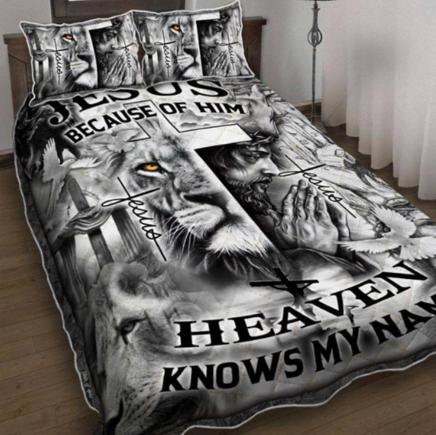 Lion Jesus because of him heaven knows my name bedding set