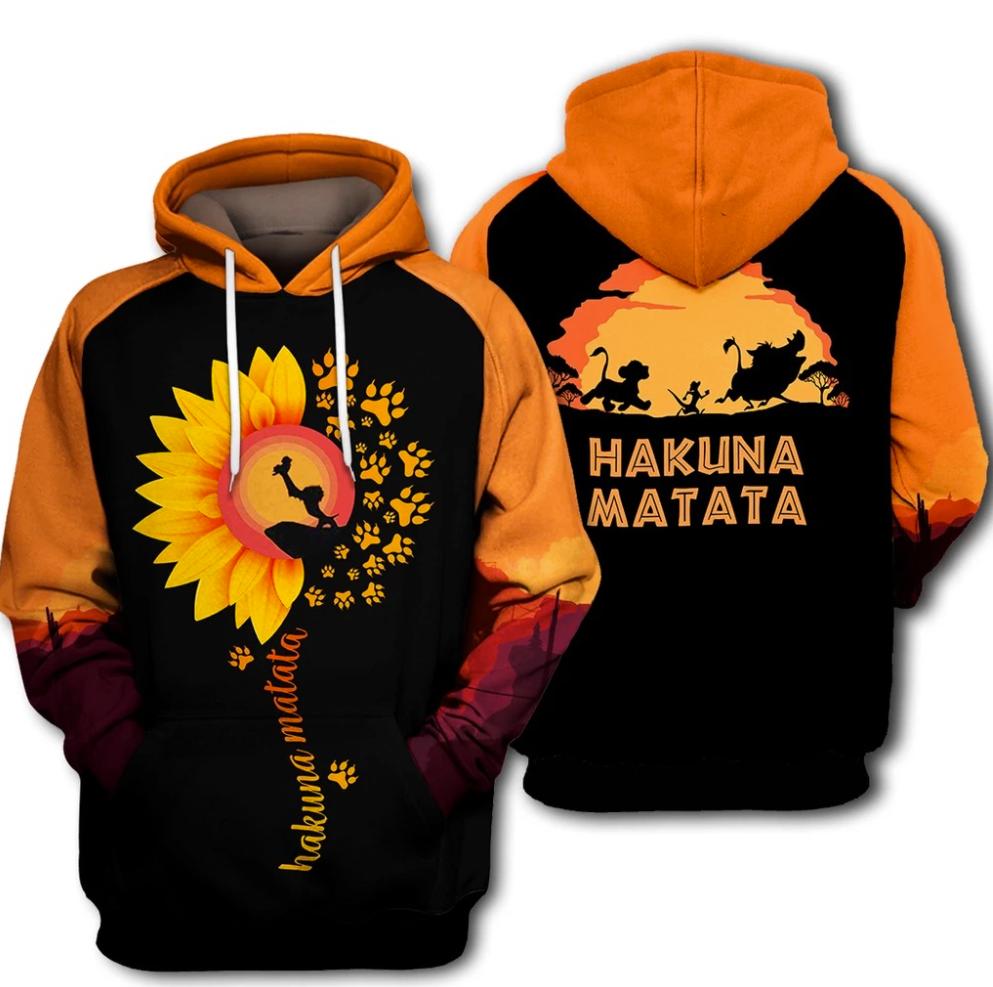 Lion King hakuna matata all over printed 3D hoodie