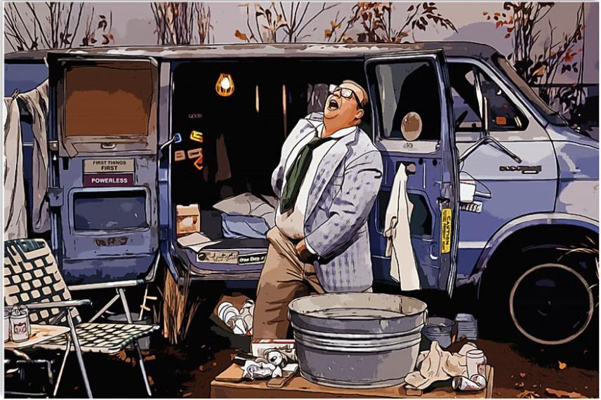 Living in a van down poster
