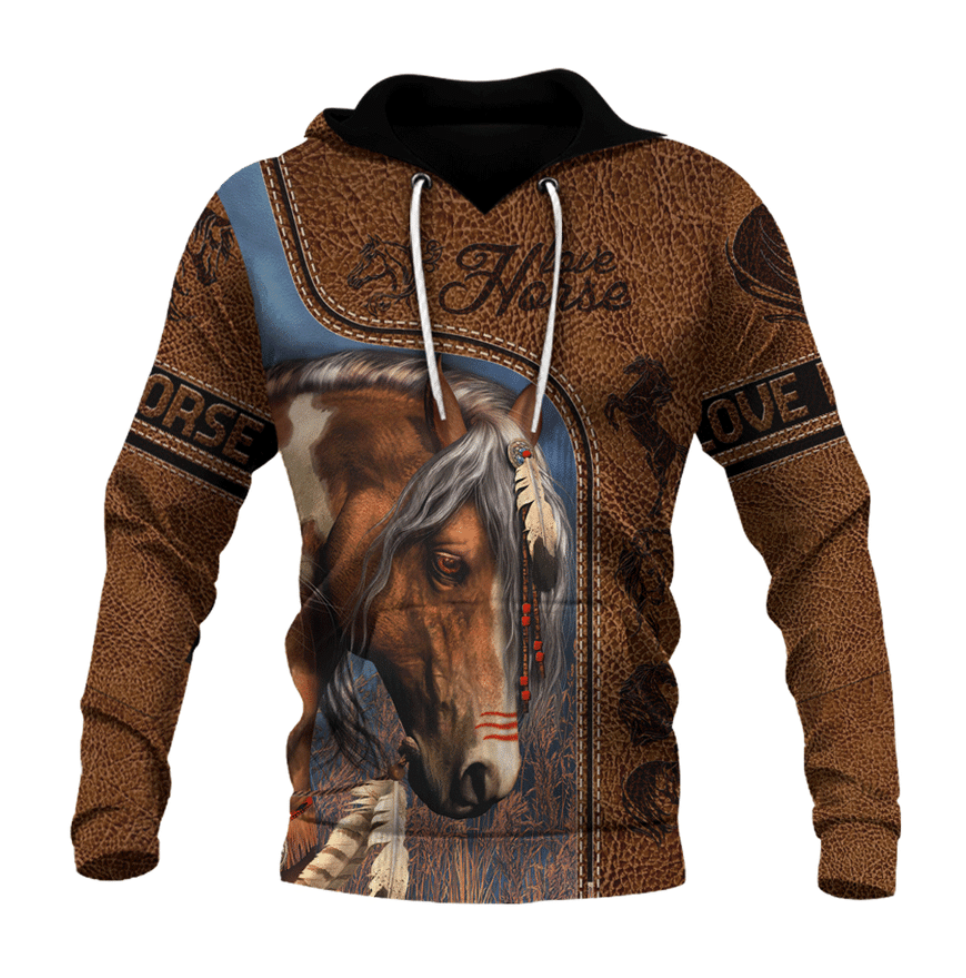Love horse native all over printed 3D hoodie