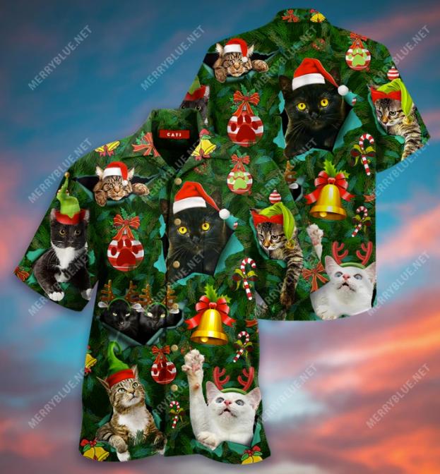 Meowy CatMas hawaiian shirt