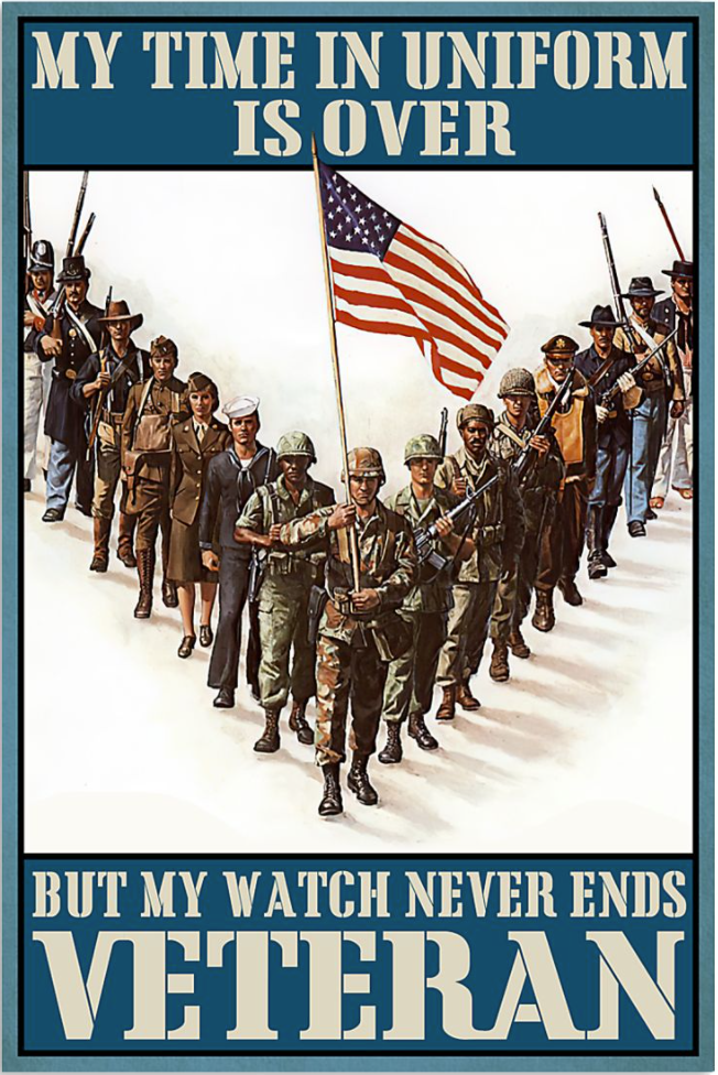 My time in uniform is over but my watch never ends veteran poster