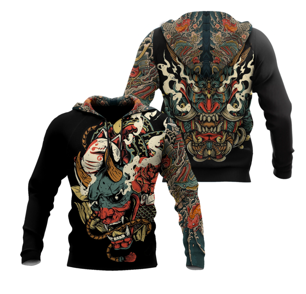 Oni Mask Tattoo all over printed 3D hoodie