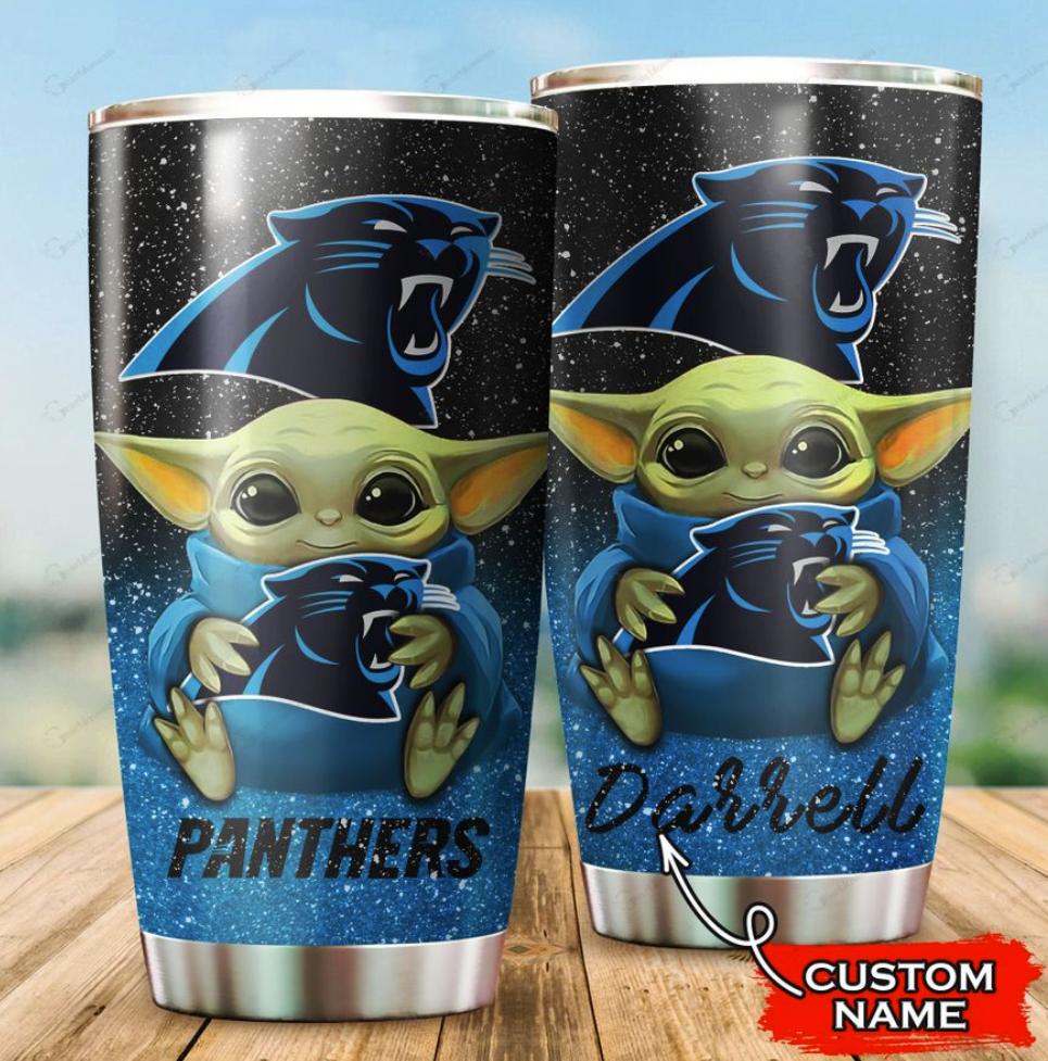 Personalized Baby Yoda hug Carolina Panthers tumbler