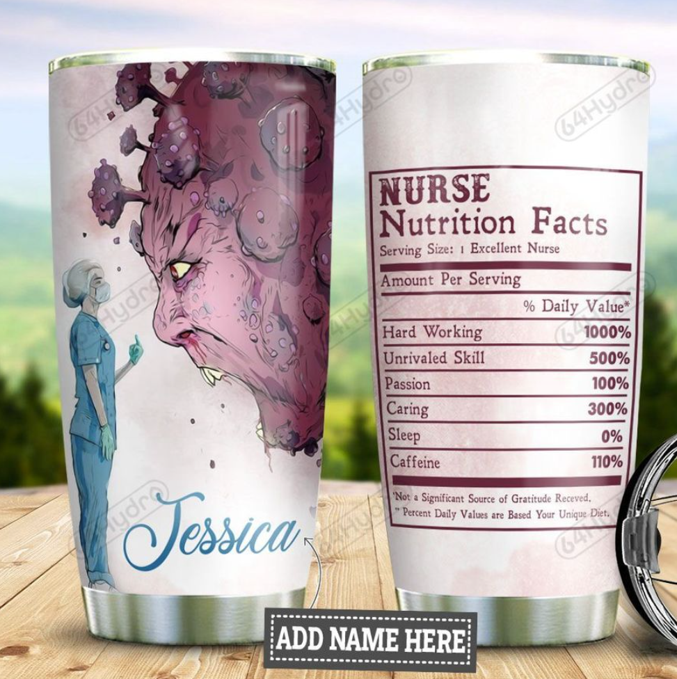 Personalized Covid Nurse nutrition facts tumbler