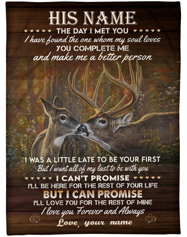 Personalized Deer couple the day i met you i have found the one whom my soul loves blanket