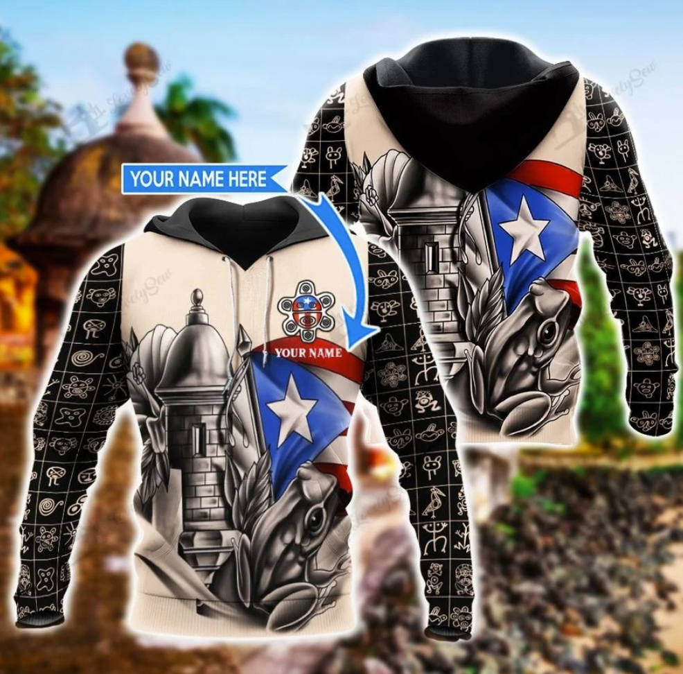 Personalized Sol taino puerto rico all over printed 3D hoodie