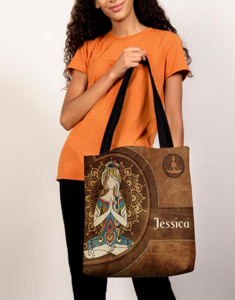Personalized Yoga girl tote bag 1