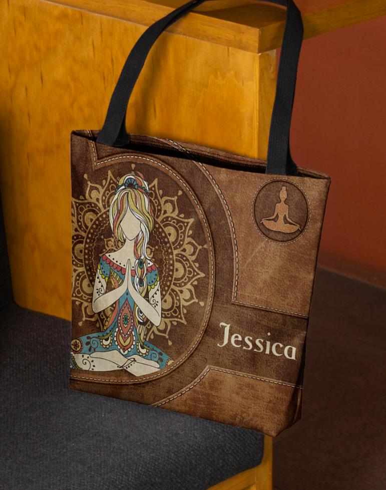 Personalized Yoga girl tote bag