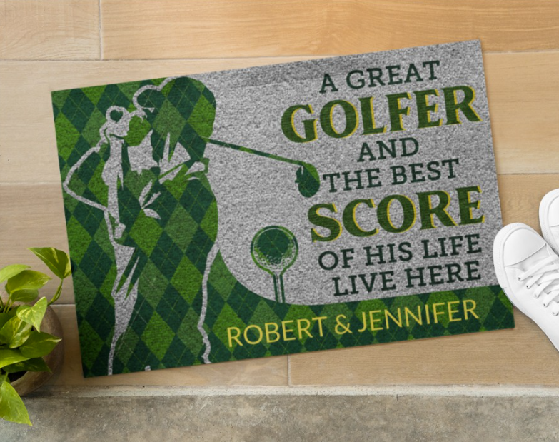 Personalized a great golfer and the best score of his life live here doormat 1