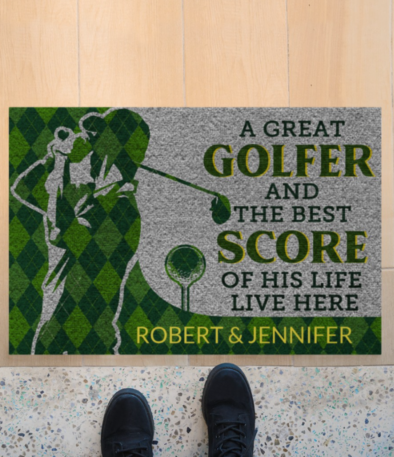 Personalized a great golfer and the best score of his life live here doormat