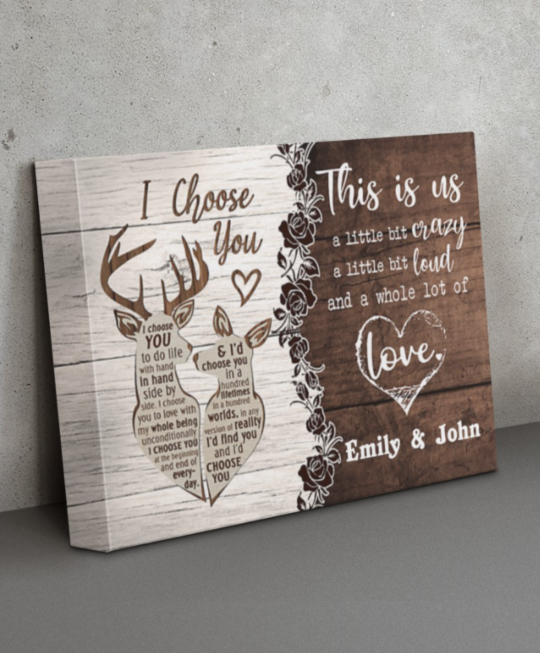 Personalized deer couple i choose you this is us canvas