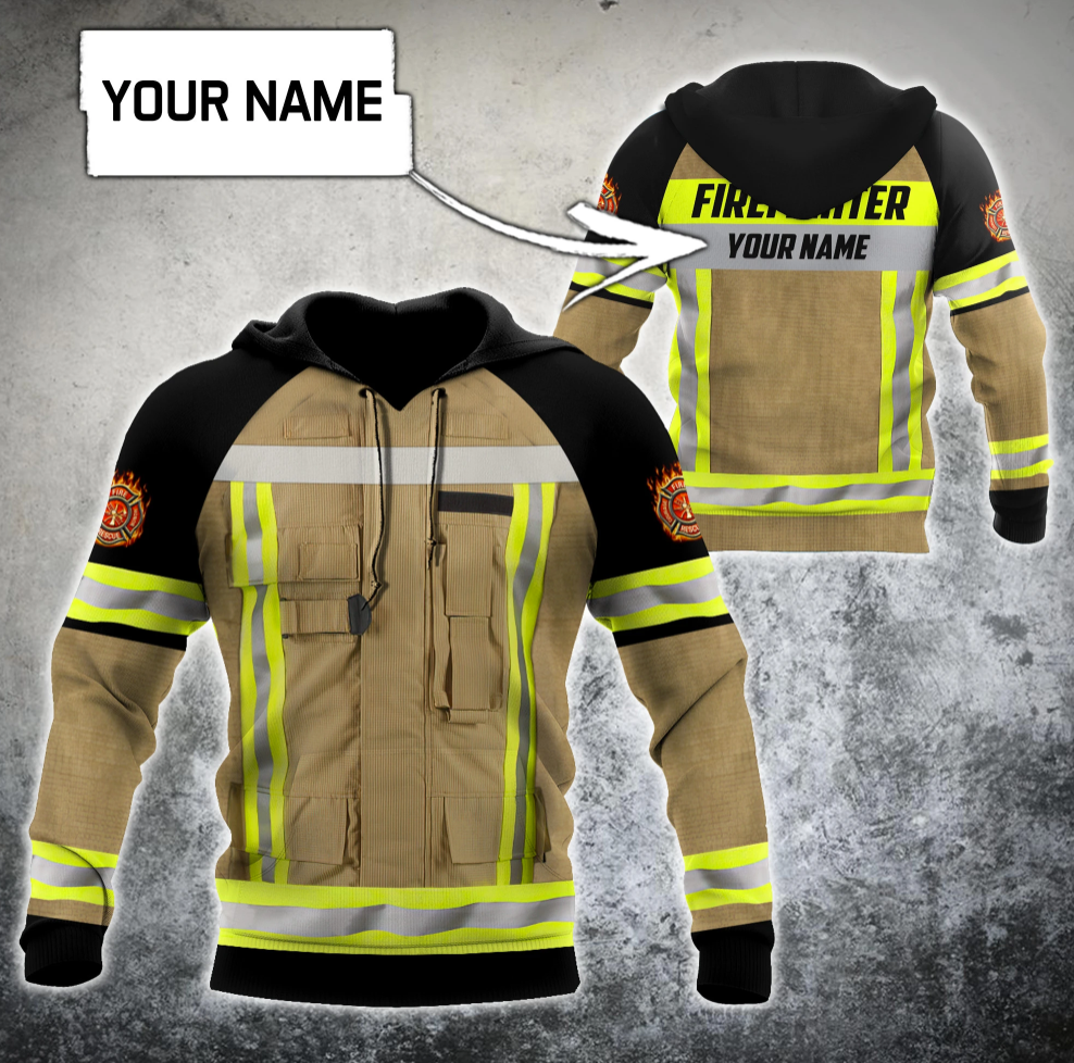 Personalized firefighter uniform all over printed 3D hoodie
