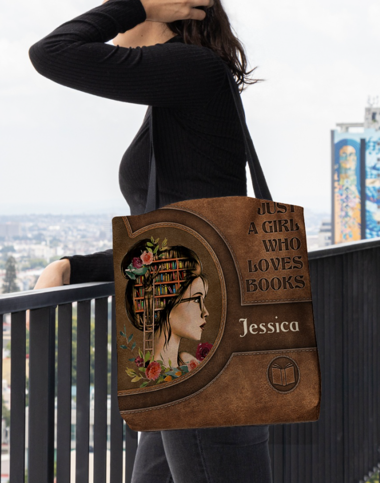 Personalized just a girl who loves books tote bag 1