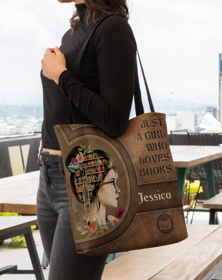 Personalized just a girl who loves books tote bag