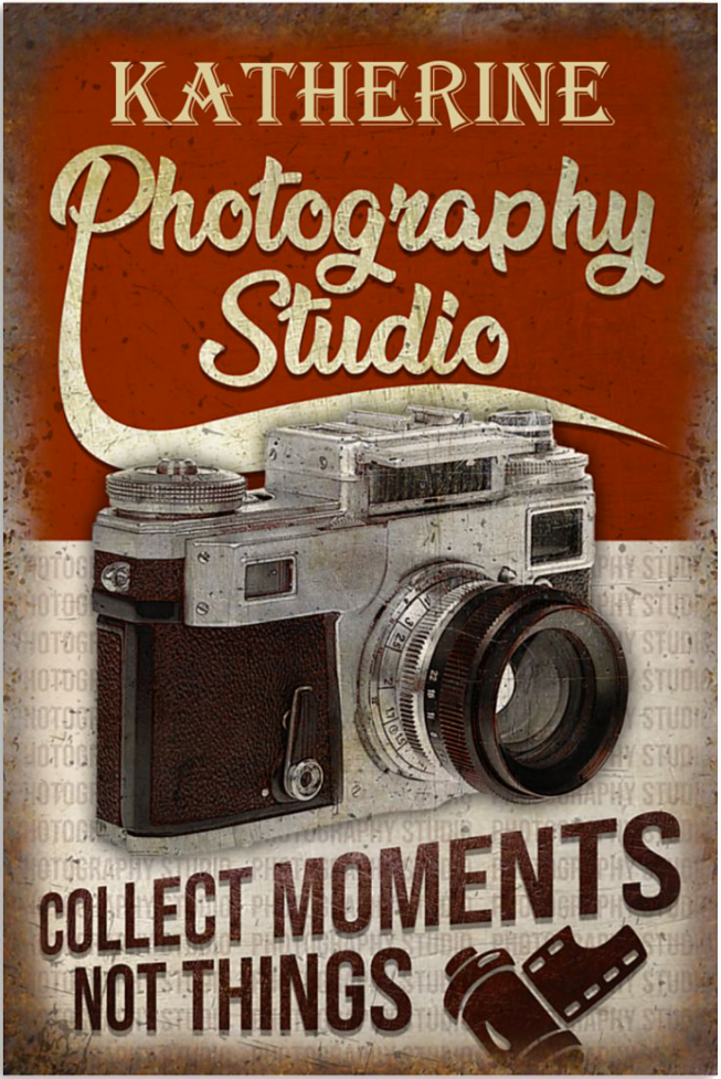 Personalized photography studio collect moments not things poster