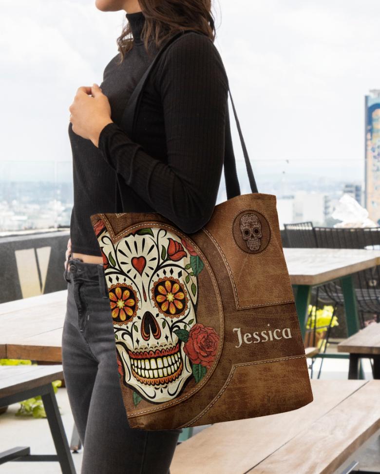 Personalized sugar skull tote bag