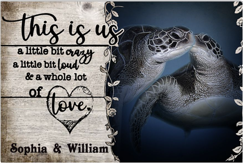 Personalized turtle this is us a little bit crazy a little bit loud and a whole lot of love poster