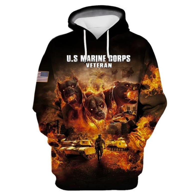 Pit Bull US Marine corps veteran all over printed 3D hoodie