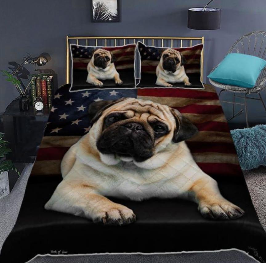 Pug American flag bedding set
