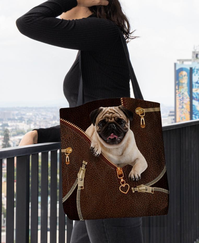 Pug Zipper tote bag 1