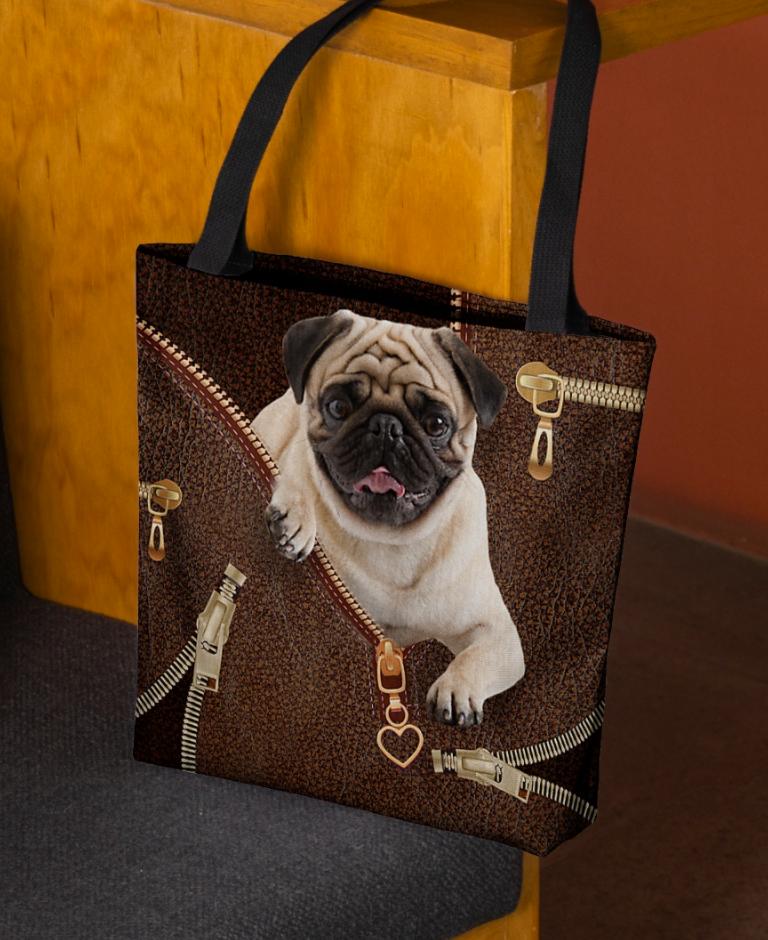Pug Zipper tote bag