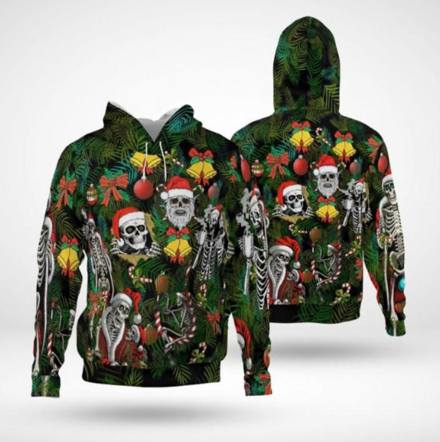 Santa Claus skellington all over printed 3D hoodie