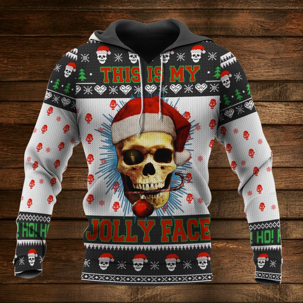 Santa Claus skull this is my Jolly face all over printed 3D hoodie