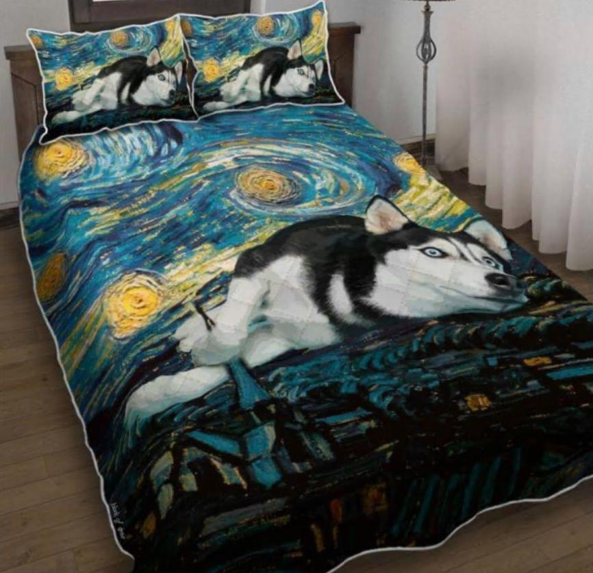 Siberian Husky Starry Night bedding set
