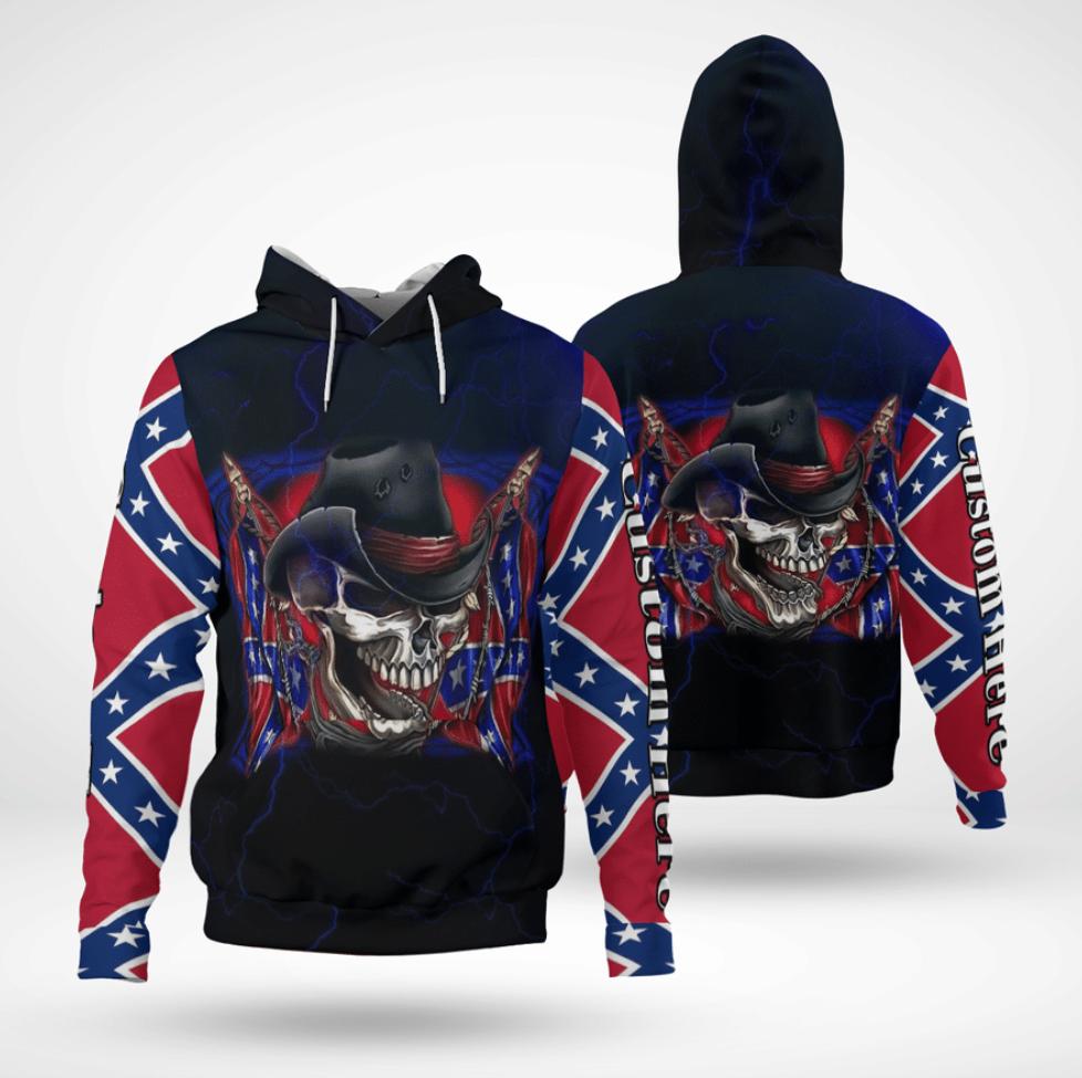 Skull Southern Pride all over printed 3D hoodie
