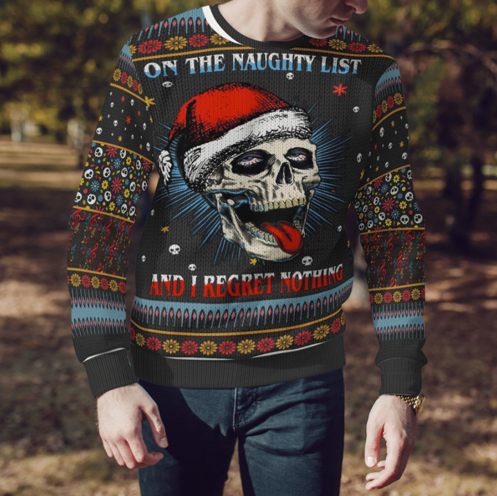 Skull on the naught list and i regret nothing ugly sweater