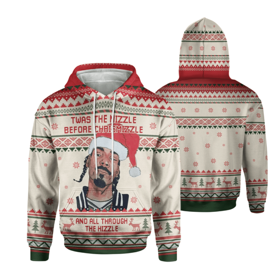 Snoop Dog twas the nizzle before Christmizzle and all through the hizzle all over printed 3D hoodie