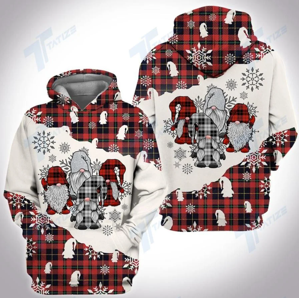 Tartan gnomes all over printed 3D hoodie