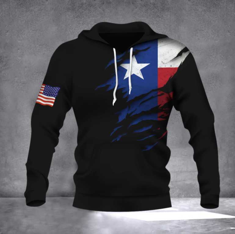 Texas Flag with American flag all over printed 3D hoodie