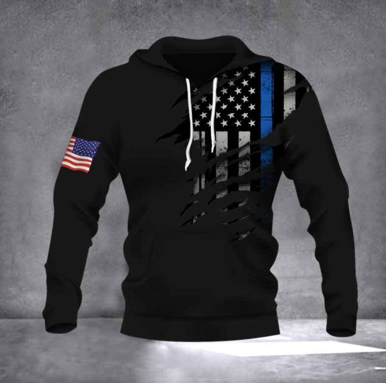 Thin Blue Line American Flag all over printed 3D hoodie