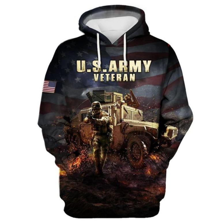US Army veteran all over printed 3D hoodie