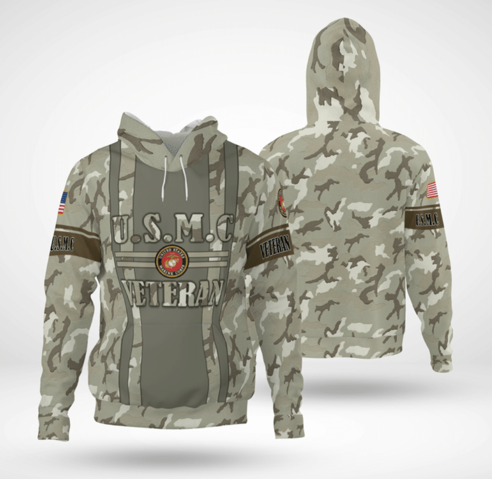 USMC veteran camo all over printed 3D hoodie