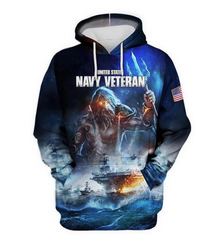 United State navy veteran all over printed 3D hoodie