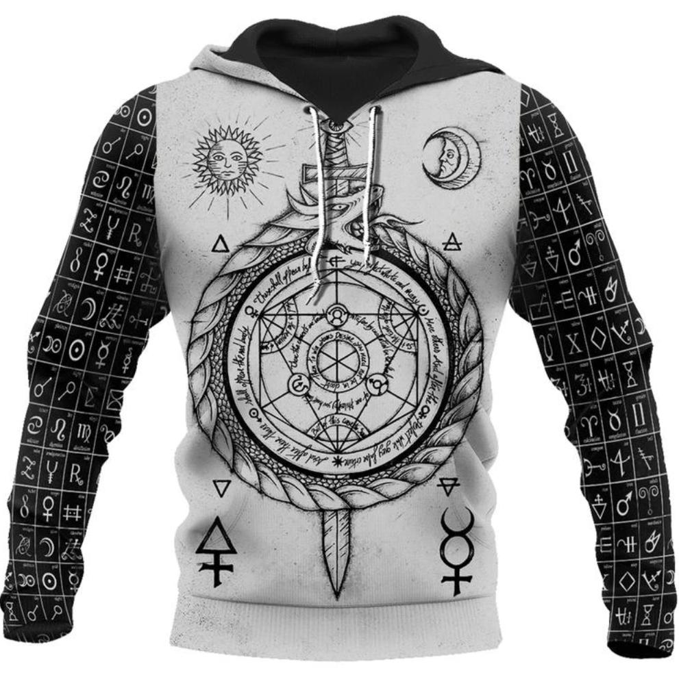 Viking-Alchemy & Runes all over printed 3D hoodie