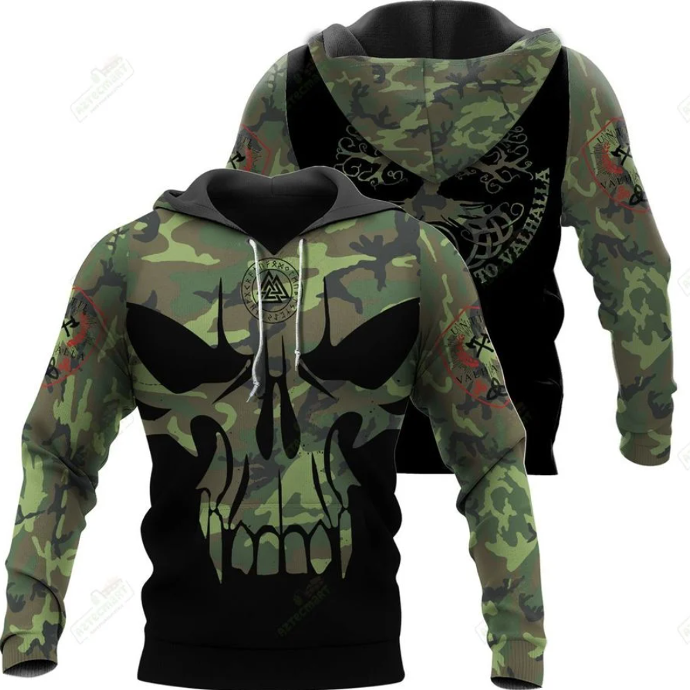 Viking Die In Battle And Go To Valhalla all over printed 3D hoodie