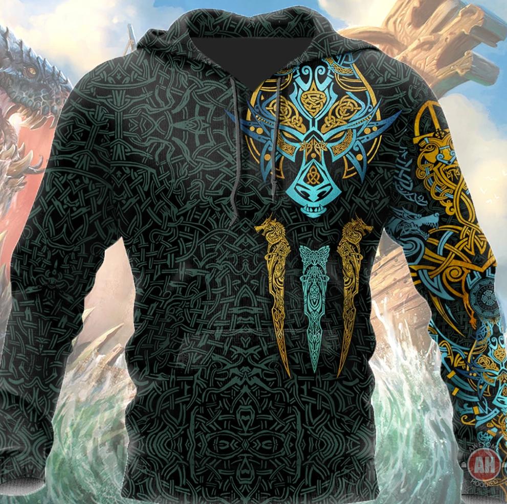 Viking Fenrir all over printed 3D hoodie