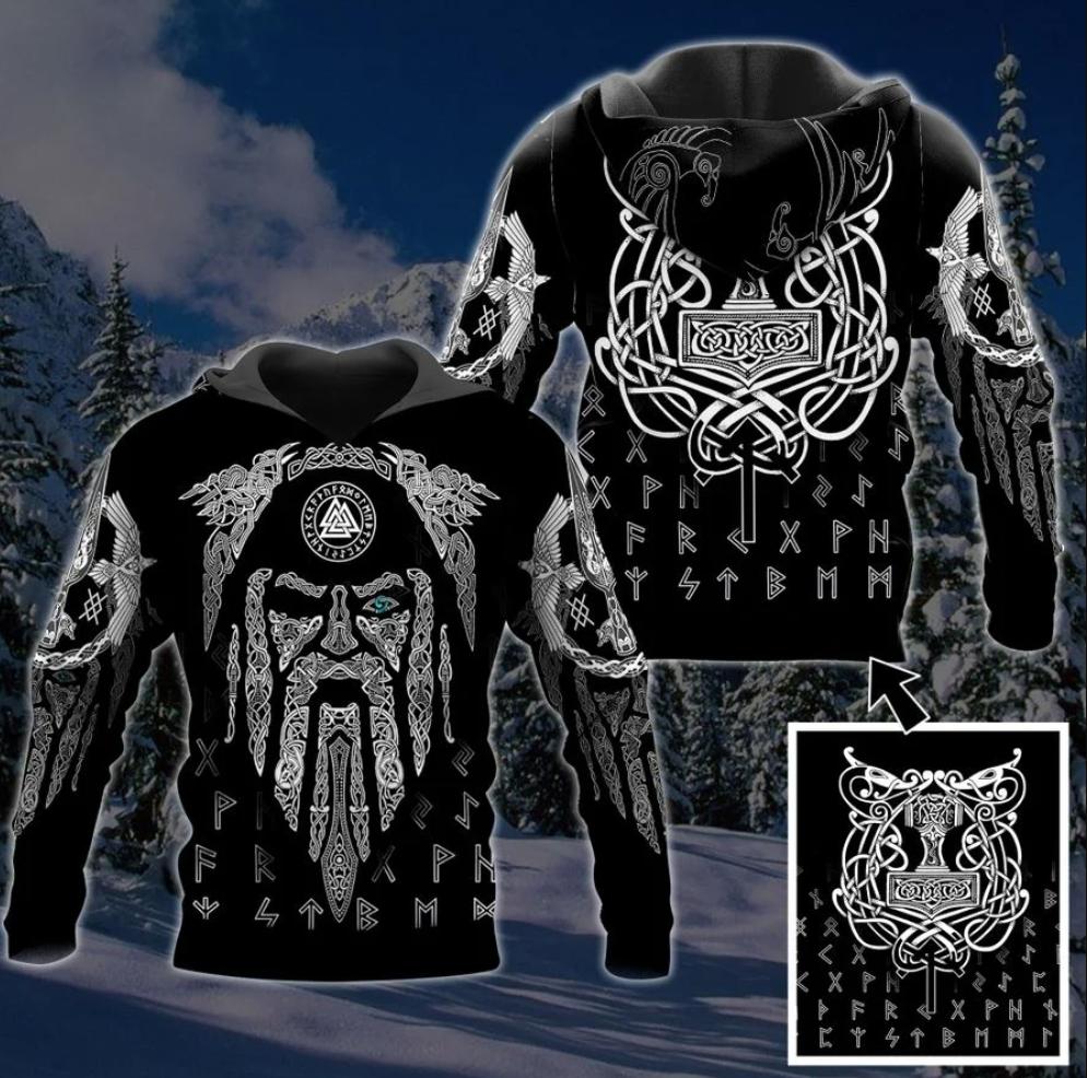 Viking hammer all over printed 3D hoodie